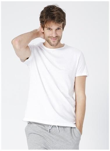 Limon Company Limon Beyaz Bisiklet YakaErkek T-Shirt Beyaz